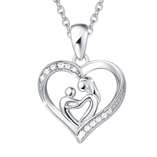 Agvana 925 Sterling Silver Mother and Child Love Heart Pendant Necklace Cubic Zirconia CZ Fine Jewelry Gifts for Women Girls with Gorgeous Jewelry Box, 16