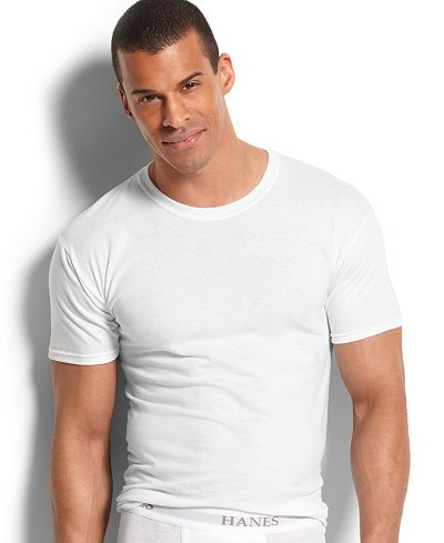 (Hanes Men's 4Pack Crew Neck Tagless White Undershirts Crewneck T-Shirts, L)