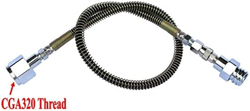 36 Inch CO2 SodaStream Soda Club to External CGA320 Tank Direct Adapter and Hose Kit