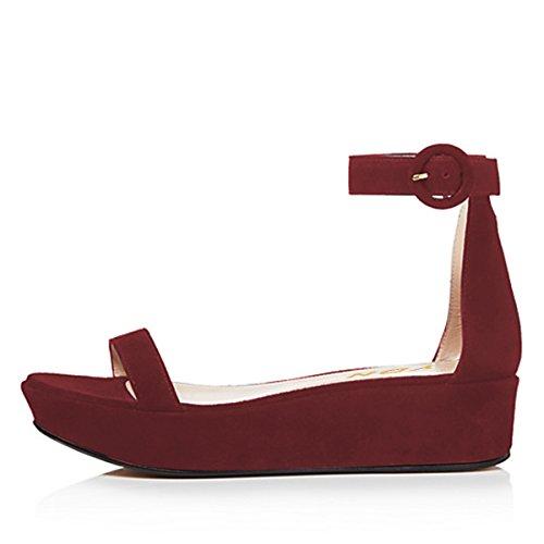 Open YDN Toe Wedge Ankle Heel Sandals Soft Pumps Buckle Red Shoes Platform Low with Women Dark Straps pr5fqp