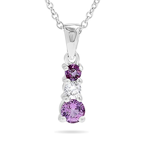 (14k White Gold Three Stone Genuine Pink Sapphire and Diamond Journey Pendant Necklace, 18 Inch Chain)