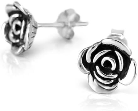 925 Oxidized Sterling Silver Small Rose Flower 8 mm Post Stud Earrings