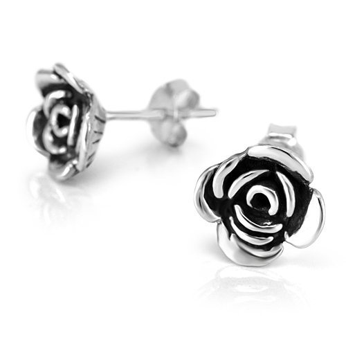925 Oxidized Sterling Silver Small Rose Flower 8 mm Post Stud Earrings