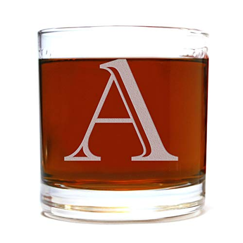 Etched Monogram 10.5oz Rocks Old Fashioned Lowball Glass for Whiskey Scotch Bourbon (Letter A)