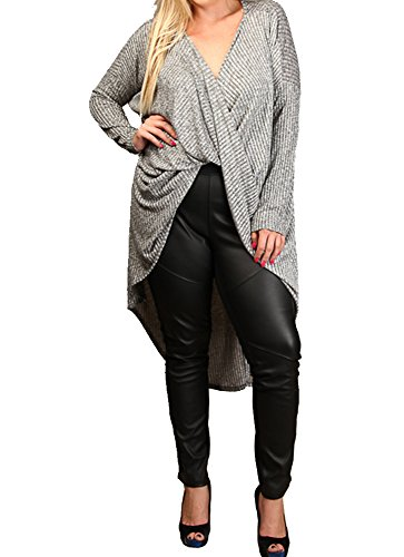 Women's Plus Size Twist Front Sweater Long Sleeve Knit Holiday Cardigan Curvy Fit (3X, Grey)