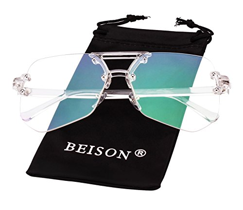 Beison Womens Mens Rimless Glasses Retro Cutting Edge Sunglasses (Clear / Clear, - Retro Futuristic Fashion