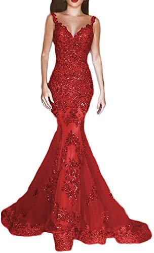 48d637c864d9 Jingliz Women's Sexy V Neck Beaded Sequins Mermaid Evening Dresses ...