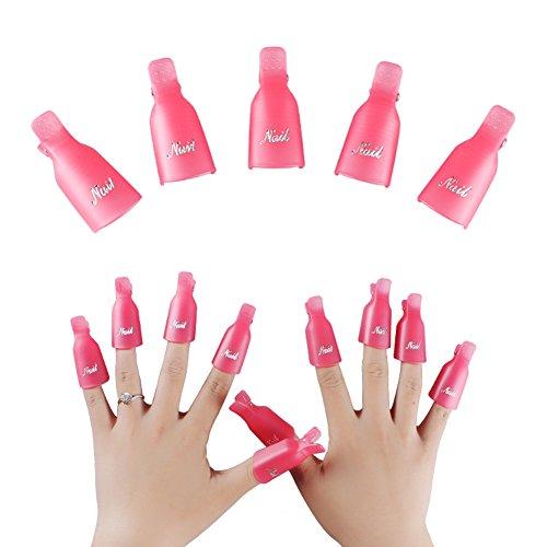 Nail Art Soak Off Cap 10Pcs RALMALL Reusable Plastic Acrylic Uv Gel Polish Remover Wrap Cleaner Cap Tool (Pink)