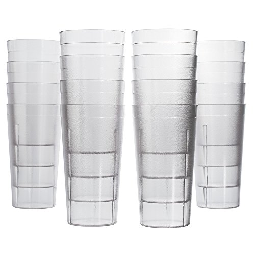 Cafe 20-ounce Break-Resistant Plastic Restaurant-Style Beverage Tumblers | Set of 16 Clear