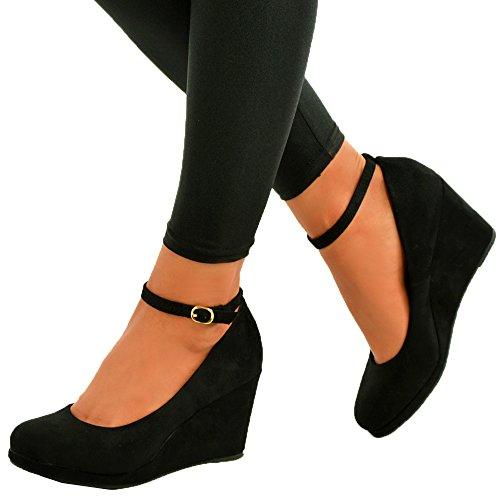 Cucu Fashion 2017 Brand Ladies Womens Wedge Pumps Ankle Strap High Heels Platform Party Shoes Size UK Black Suede iJVFXL