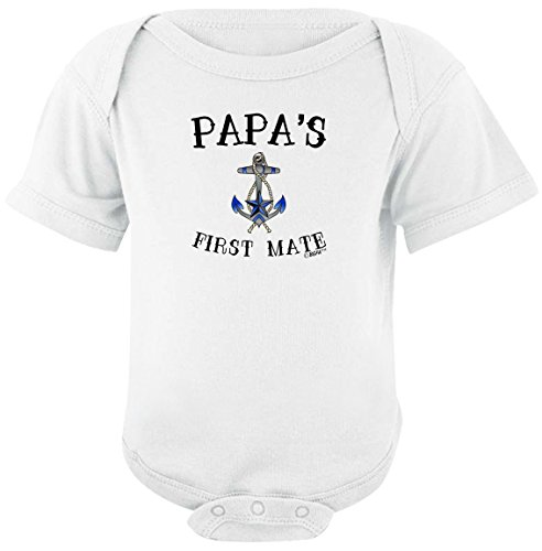 Nautical Baby Shower Gift Papa's First Mate Nautical Sailing Bodysuit 12 Months White