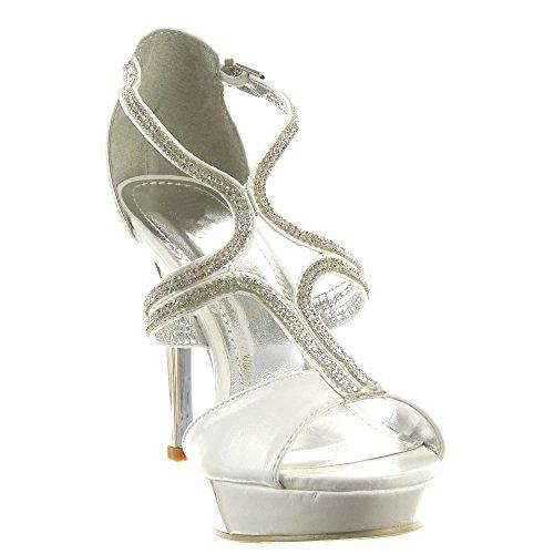 Sopily - Zapatillas de Moda Tacón escarpín Stiletto correa Zapatillas de plataforma Tobillo mujer strass Talón Tacón de aguja alto 11 CM - Blanco