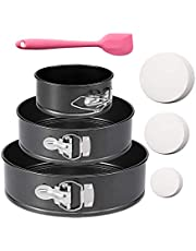 """3Pcs Springform Pan set Non-stick Leakproof 4""""/7""""/9"""" Cake Pan Detachable Bakeware Leakproof Round Baking Pans with Parchment Paper Liners and Silicone Spatula for Baker and Baking Enthusiast"""