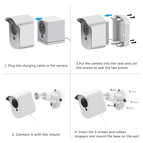 Wyze Cam Wall Mount Bracket, Wyze Camera Cover with Adjustable Wall Mount for Wyze Cam V2 V1 and Ismart Spot Camera Indoor Outdoor Use, (White 3 Pack)
