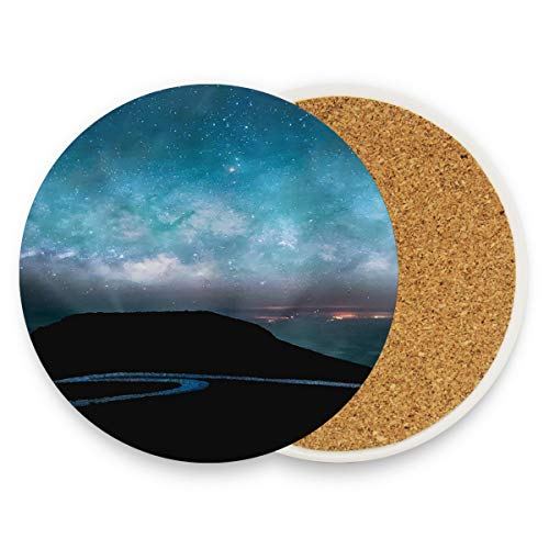 Alaska Starry Night Coasters, Protect Your Furniture from Stains,Coffee, Cork Coasters Funny Housewarming Gift,Round Cup Mat Pad for Home, Kitchen or Bar 1 piece (Bedroom Alaska Furniture)