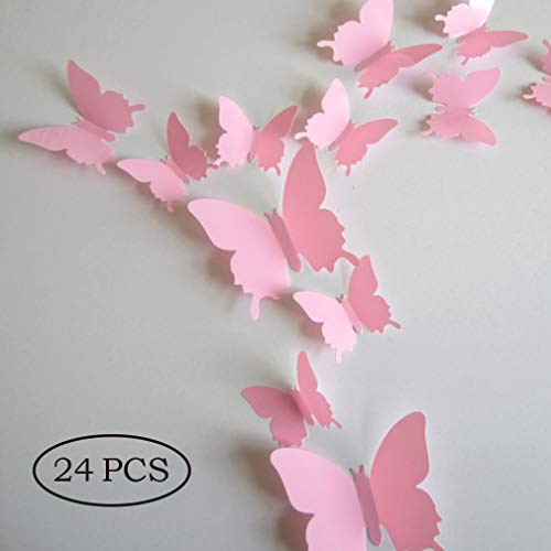 Jepple 24Pcs Butterfly Wall Decals - 3D Butterflies Decor for Wall Removable Mural Wall Stickers Home Decor (Pink)