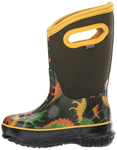 Image of the Bogs Kids Classic High Waterproof Insulated Rubber Neoprene Rain Snow Boot, Dino Print/Moss/Multi, 8 M US Toddler