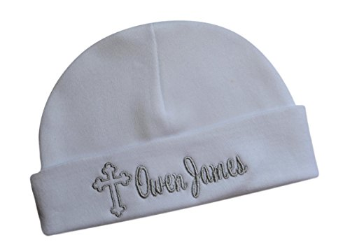 Funny Girl Designs Embroidered Baptism Baby Hat With Cross Personalized With Custom Name 100% Cotton (0-6 Months, Silver)