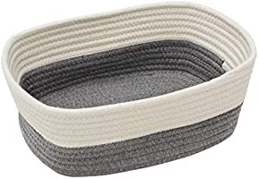 JVL Set of 3 Grey Off-White Cotton Rope Storage Baskets