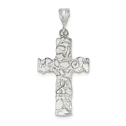(Lex & Lu Sterling Silver Nugget Cross Pendant LAL104833-Prime)