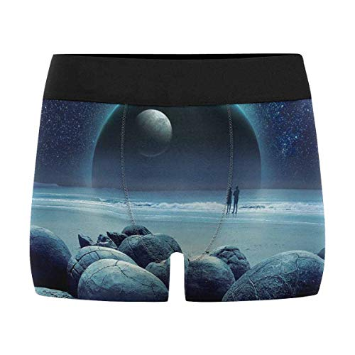 InterestPrint Men's All-Over Print Boxer Briefs A Couple of Lovers at The Seaside XS by InterestPrint