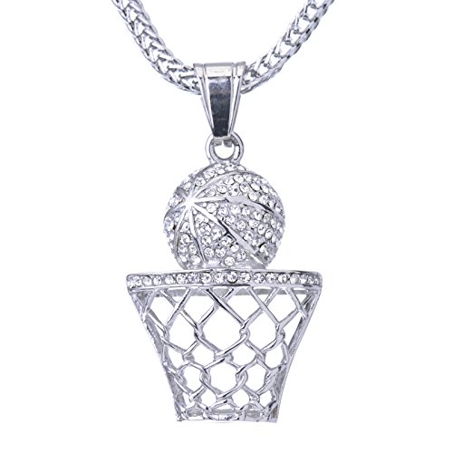 Metaltree98 Mini Basketball Pendant Silver Tone Stainless Steel 24