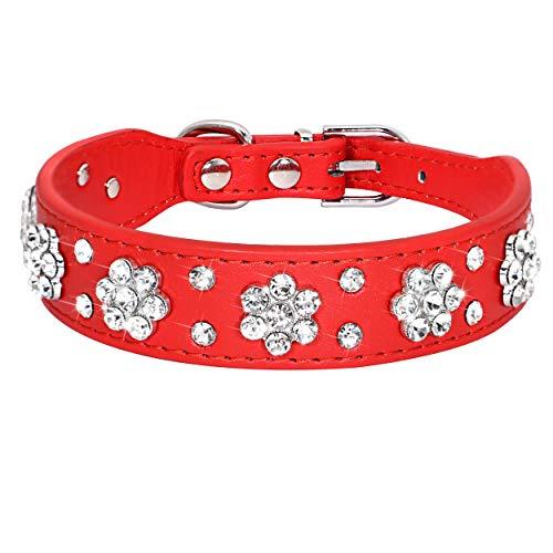 Leather Dog Collar Rhinestone Flower Pattern Studded Small & Medium Dogs Didog