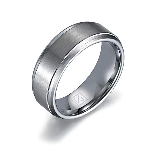 Luxffield Basic 8mm Mens Titanium Wedding Ring Matte Finished Wedding Band Comfort Fit Engagement Ring Size 10