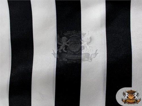 Satin Prints Fabric STRIPES BLACK WHITE / 52