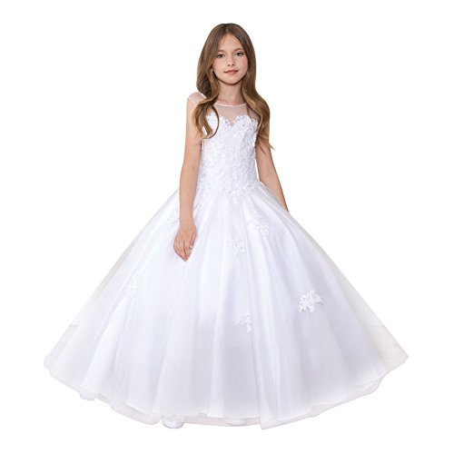 Calla Collection Little Girls White Sparkle Embroidered Pageant Dress 5 by Calla Collection USA