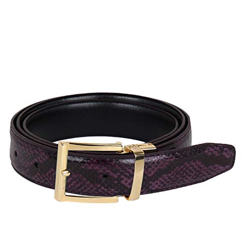 Python Skin Leather Belt Purple