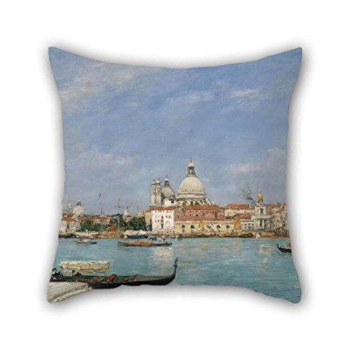 (Pillowcover 16 X 16 Inches / 40 By 40 Cm(both Sides) Nice Choice For Wife Bench Dining Room Deck Chair Him Couples Oil Painting Eug??ne Louis Boudin - Venice, Santa Maria Della Salute From San Gior)