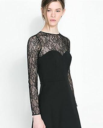 Zara Negro de Encaje y Combinado tamaño Vestido: tamaño Mediano: Amazon.es: Ropa y accesorios