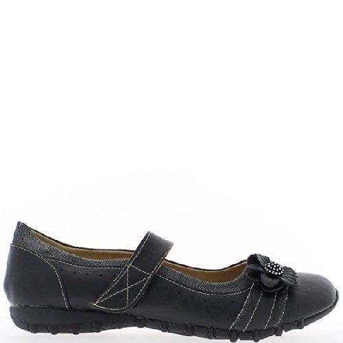 Zapatos de mujer negro confort amplia grandes Tamaño bridado