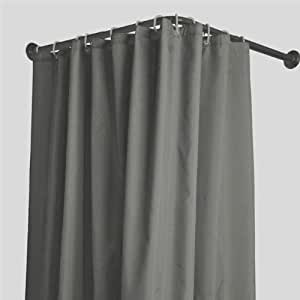 Shower Curtain With Stainless Steel Eyelets Charcoal Grey 200x120cm Home Kitchen
