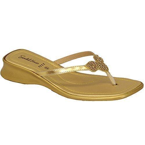 Doré Diamant SH222613 Chaussures Sandal Femmes Orteil Par Tongs House Bride 8xU4S