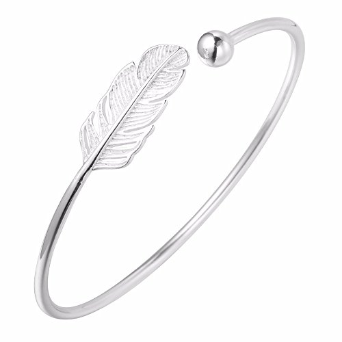 925 Silver Leaf Bracelets Feather Cuff Bangles & Bracelets Accessories for Girls Women Gift Jewelry -