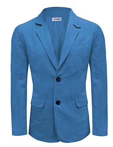 [Tom's Ware Men Casual Two Button Notched Lapel Single Breasted Linen Blazer TWJ8218-BLUEORANGE-US L] (Linen Single Breasted Sport Coat)