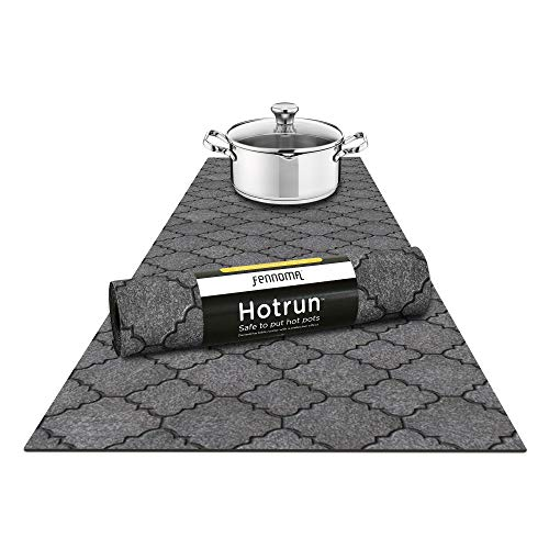et and Decorative Table Runner Handles Heat Up to 356F, Anti Slip, Waterproof, and Convenient for Hot Dishes and Pots (Concrete Gray ) ()