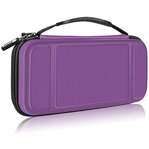 Fintie Carry Case for Nintendo Switch - [Shockproof] Hard Shell Protective Cover Portable Travel Bag w/10 Game Card Slots and Inner Pocket for Nintendo Switch Console Joy-Con & Accessories, Purple from Fintie