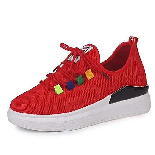 ZHZNVX Zapatos de Mujer Mesh Summer Comfort Sneakers Flat Heel Round Toe Blanco/Negro / Rojo Red