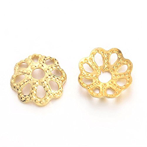 200pc 18k Gold Plated Small Solid Brass Filigree Flower Bead Caps- 6mm ()