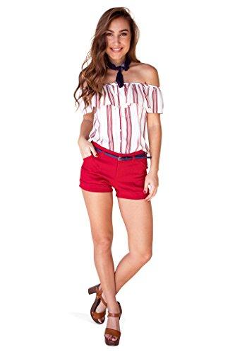 Anchor Navy Sailor Short (Bebop Juniors Red/Navy Size 1 Stretch 4 Pocket Shorts Removable Belt)
