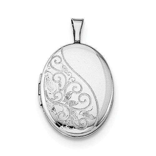 925 Sterling Silver Swirls 19mm Oval Photo Pendant Charm Locket Chain Necklace That Holds Pictures Fine Jewelry Gifts For Women For Her ()