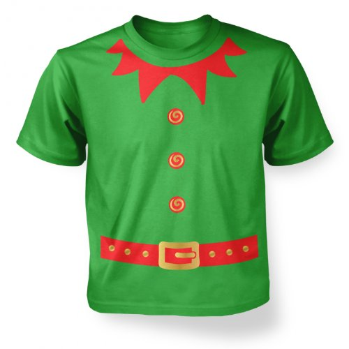 [Big Mouth Clothing Big Boys Elf Costume (Red Detail) Kids T-shirt - Irish Green] (Green And Red Elf Costumes)