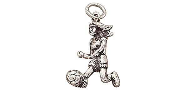 Sterling Silver Womens 1mm Box Chain 3D Girl Playing Soccer Kicking Soccer Ball Pendant Necklace