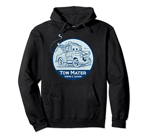 Unisex Disney Pixar Cars Tow Mater Salvage Badge Graphic Hoodie XL: Black (Disney Cars Shirts For Adults)