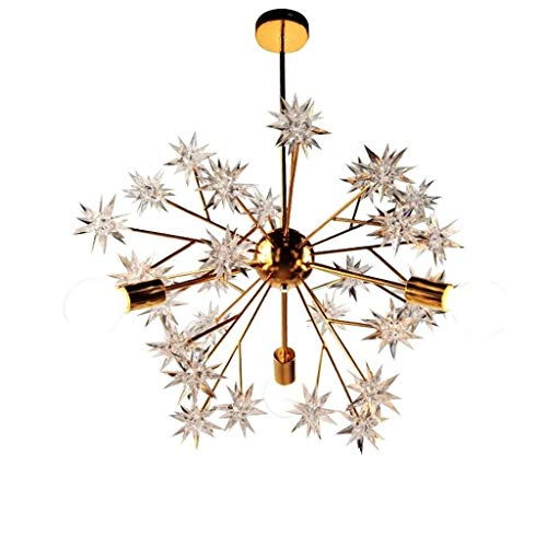 XAJGW 3 Lights Modern Metal Chandelier Creative Chandeliers Firework LED Light Crystal Snowflake Lighting LED Globe Living Room