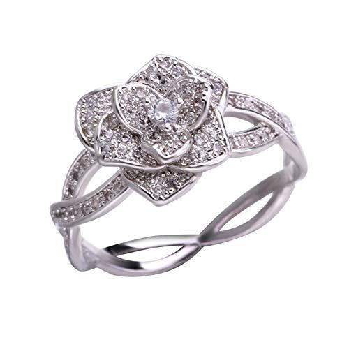 tt-1 Fashion Elegant Women Dazzling Flower Ring CZ Zircon Anniversary Ring (Doctor Who Nose Ring)