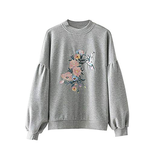 Women's Hoodies Elegant Floral Bird Embroidery Loose Sweatshirts Gray